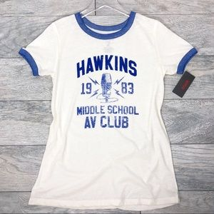 Stranger Things Hawkins 1983 Graphic Ringer Tee M